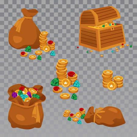 Vector icons of stacks of gold coins and gems. Gold riches in wooden open chest and bags. Wealth of pirates or buried treasure. Set of colorful cartoon flat isolated illustrations. Illusztráció