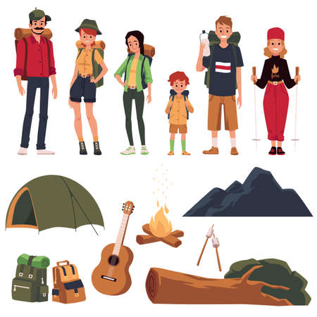 Set of isolated cartoon characters active tourists and symbols of hiking, outdoor travel and family camping. Sitting by fire camp, adventure in wood or mountains. Vector illustration