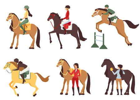 Set of different horse riders wearing helmets riding their horses fast and jumping above fence, flat cartoon vector illustration isolated white background