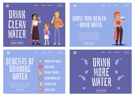 Drink more water, hydration benefit banner set with cartoon people drinking and hydrating. Health and lifestyle website homepage templates, vector illustration.