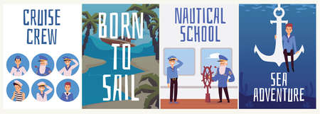 A set of advertising posters for sea adventures, navigation school and work in the crew of a cruise ship. Sailors on a voyage in the sea or ocean. Vector flat illustration