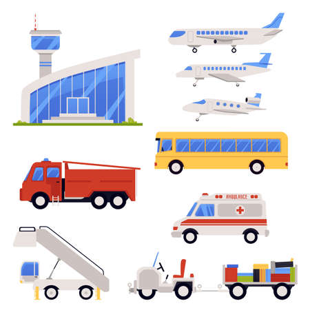 Airport terminal special transport for technical maintenance of airplanes and passengers transportation set of flat vector illustrations isolated on white background.