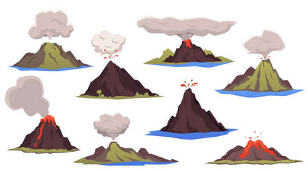 A set of erupting volcanoes. Volcanic eruption with lava flowing down and clouds of smoke and ash. Volcanic activity. Flat cartoon isolated vector illustrations Ilustrace