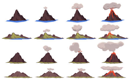 Set of various shapes of volcanic mountains with different stages of eruption and volcano stable condition, flat vector illustration isolated on white background. Vettoriali