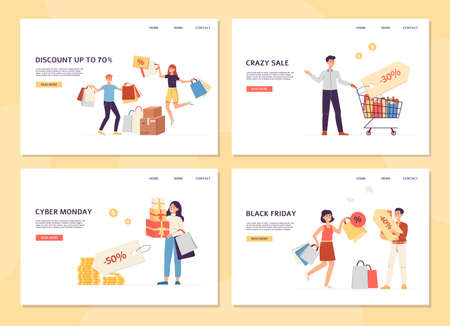 Set of landing pages templates of application for shoppers. Happy people buyers with lots of bags. Sales, discounts, black friday and cyber monday. Flat vector illustration