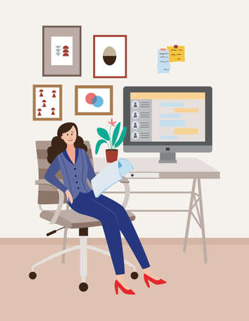 A young female office employee or businesswoman is sitting in an office chair at the workplace. Interior of an office or home cabinet. Vector flat illustration.