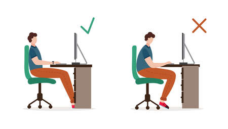 Correct and incorrect body position when sitting on office chair. Pose of a person when working at a computer. Healthy lifestyle. Flat isolated vector illustration Ilustrace