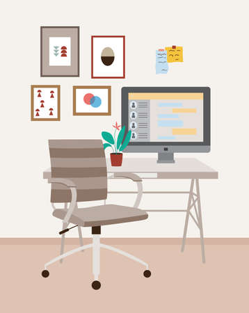 A workplace with an office chair on wheels, a desk, a monitor, a potted flower and paintings on the wall. Interior of an office or home cabinet. Vector flat illustration. 向量圖像