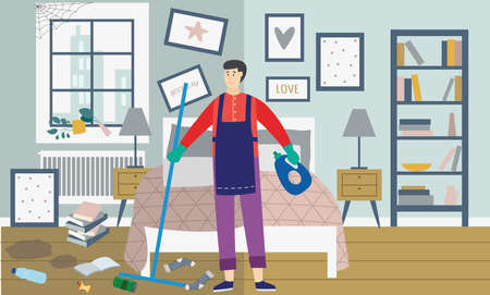 Person janitor is cleaning mess in the bedroom. Interior of the dirty room with a cleaner with a mop and cleaning agent. Cleaning service for the home. Vector flat illustration