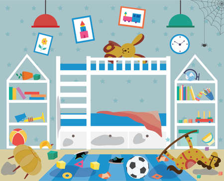 Dirty messy childrens room interior with scattered things and dirty furniture, flat cartoon vector illustration. Kids bedroom which need cleaning and tidying up.