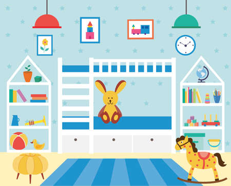 Kids bedroom with many toys and bunk bed. Children room for happy childhood living with white furniture and blue walls, flat cartoon vector illustration