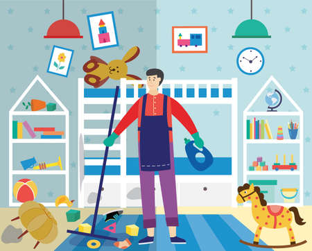 Man cartoon character cleaning very dirty and messy children room with scattered clothes and toys, flat vector illustration. Housekeeping and cleaning concept.