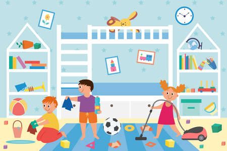 Interior of a dirty kids room with messy and scattered toys. Children together clean and wash their playroom. Domestic house cleaning. Vector flat cartoon illustration