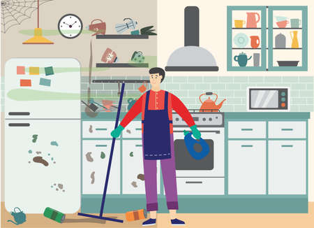 Cleaner is cleaning mess and garbage in kitchen. Interior dirty room with person holding mop and cleaning agent, doing housework. Cleaning service for home. Vector flat illustration Illustration