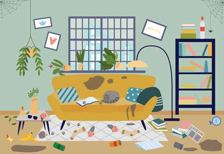 Dirty living room in house. Interior of messy uncomfortable untidy room with furniture, scattered things, garbage, sleeping cat and cobwebs. Vector flat illustration.