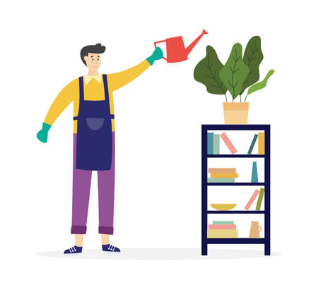 Man watering domestic houseplant in pot. Housework by staff of cleaning service. Flat cartoon vector illustration isolated on a white background. 向量圖像