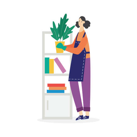 Woman busy with house chores and placing in order things, flat vector illustration isolated on white background. Household domestic chores and tidying up.