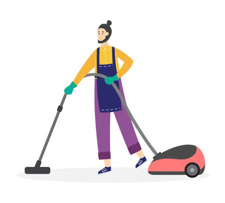 Cleaning service worker in apron using vacuum cleaner, flat vector illustration isolated on white background. Man cartoon character for house cleaning company services.