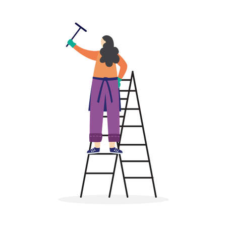 A woman stands on a stepladder with a cleaning scraper in hand. Household, housework, cleaner, janitor or staff of the cleaning service. Flat cartoon isolated vector illustration