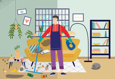 Cleaner man cleaning very dirty living room at home, flat vector illustration. Colorful background showing a house in disarray and disorder before cleaning. Vettoriali