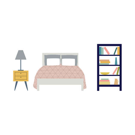 Bedroom furniture cartoon icons set, including bed and bedside table, flat vector illustration isolated on white background. Modern home sleeping furniture.