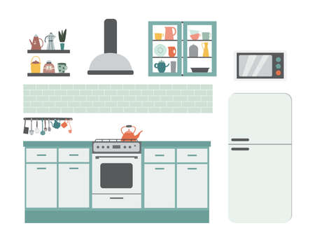 Interior of kitchen in light color with stove, cupboards and refrigerator, flat vector illustration isolated on white background. Clean kitchen equipment and furniture. 矢量图像