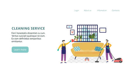 Template for the landing page for the cleaning service application. Cleaning your home or office. Staff in work clothes clean the living room. Vector flat illustration