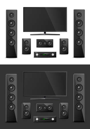 Home cinema system. Modern digital video equipment with subwoofer, plasma screen and receiver. Two vector realistic 3D illustrations on white and dark backgrounds. Ilustrace