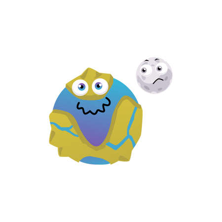 Cartoon characters of Earth planet and moon with childish kawaii faces, flat vector illustration isolated on white background. Comic image of planet of solar galaxy.