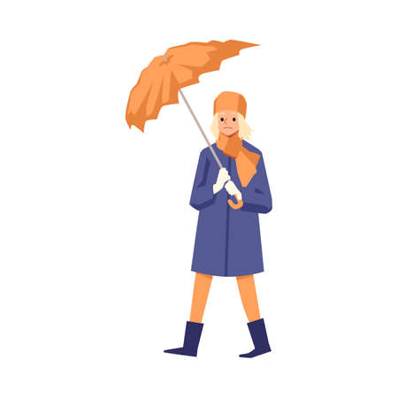 A sad girl with a broken umbrella from a strong stormy wind in her hands. Cartoon character walking in autumn weather. Flat vector illustration isolated on a white background.