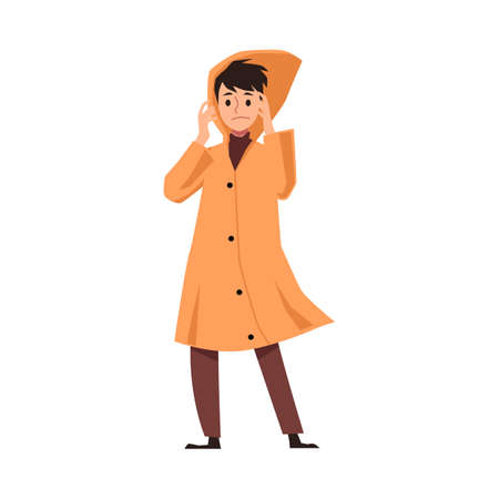 Man cartoon character in raincoat protected from autumn weather, flat vector illustration isolated on white background. Bad weather autumn season personage.