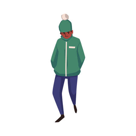 An autumn or winter cold stormy weather. Young man in warm clothing walk the rain and gusting wind. Flat cartoon vector illustration isolated on a white background Ilustrace