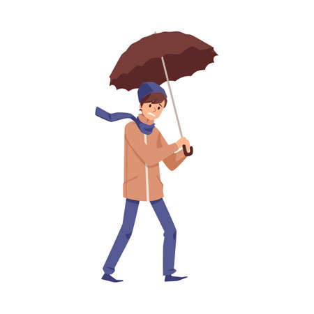 Guy wearing warm coat and scarf walking in wind rainy and stormy weather with umbrella for keeping dry, flat cartoon vector illustration isolated white background