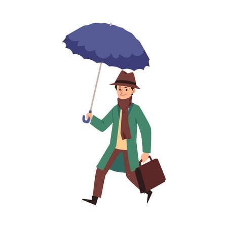 Happy man wearing warm coat and scarf with umbrella walking under rain. Wind weather and people, flat cartoon vector illustration isolated white background