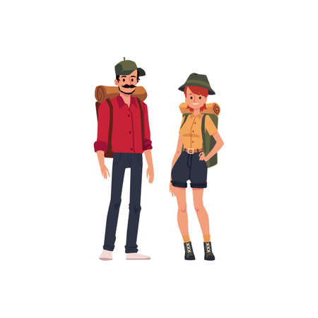 Tourists with backpacks in hiking. Summer camping for an active family couple. Flat cartoon vector illustration isolated on a white background. 向量圖像