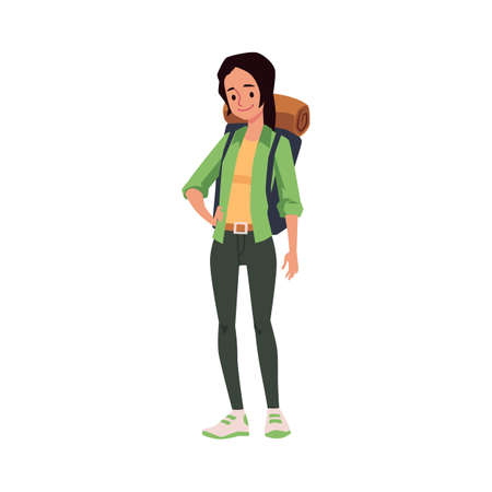 Woman tourist cartoon character with backpack, flat vector illustration isolated on white background. Female character of hiker or backpacker standing full length.