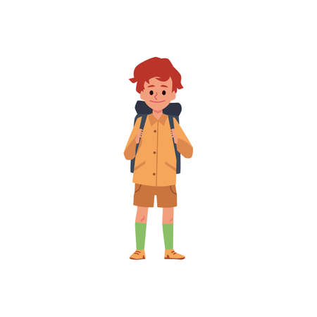 Child boy tourist or camper cartoon character with backpack, flat vector illustration isolated on white background. Little kid hiker or backpacker full length. Ilustração