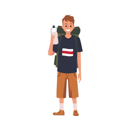 Smiling young tourist or backpacker male cartoon character, flat vector illustration isolated on white background. Man traveler or hiker standing with backpack. 向量圖像