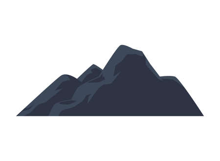 Rocky mountains or hills cartoon icon, flat vector illustration isolated on white background. Nature ground relief of peaks and mountains for tourism and traveling. Ilustrace