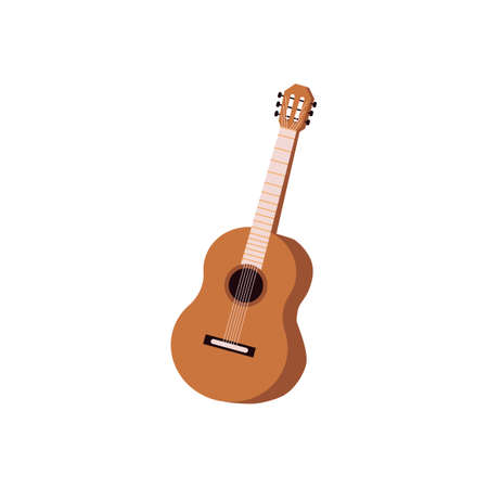 Acoustic musical instrument. Cartoon icon of classic wooden guitar with strings. Flat vector illustration isolated on a white background.