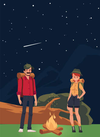 Couple of tourists at campfire in mountains, flat vector illustration. Starry night landscape background with cartoon characters of hikers man and woman.