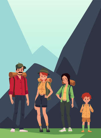 Family of hikers or tourists with backpacks standing against mountains background, flat vector illustration. Card or poster for family tourism and camping.