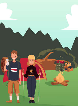Couple of hikers at campsite in woodland, flat cartoon vector illustration. Hiking and camping activity banner with cartoon man and woman on the rest break in forest.