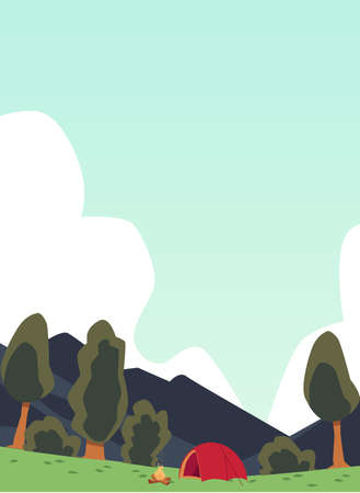 Campsite in mountains landscape background, flat cartoon vector illustration. Summer day in tourist camp with tent and campfire banner or poster backdrop.