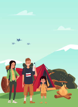 Family of tourists with a child on a hike, flat vector illustration. Forest landscape background with cartoon characters of hiking family in camping near bonfire. 向量圖像