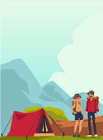 Hikers or tourists in mountains near tent, flat cartoon vector illustration. Summer mountain landscape background with man and woman backpackers in camping. 向量圖像