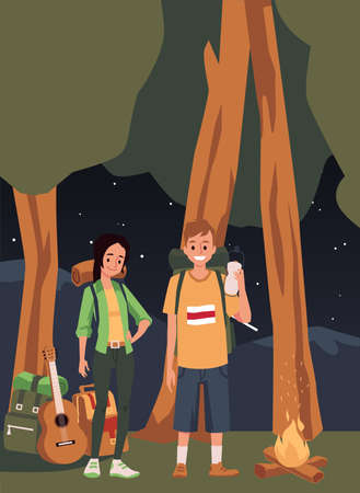 Teenagers at campfire night in forest, flat cartoon vector illustration. Forest landscape background with young tourists or hikers characters at camping site. 向量圖像