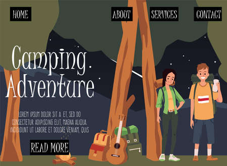 Couple in forest camp with tent and fire. Man and woman spend vacation or weekend in wild. Summer camping for family and tourists. Vector flat illustration. Landing page template