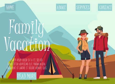 Website template for family vacation on nature or camping, flat vector illustration. Landing page mockup with cartoon characters of tourists or hikers. 向量圖像