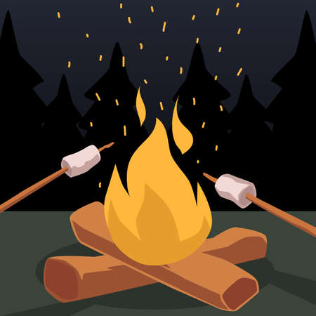 Roasting marshmallows on bonfire cartoon icon or symbol, flat vector illustration at woodland night background. Camping grill marshmallow at night outdoors.